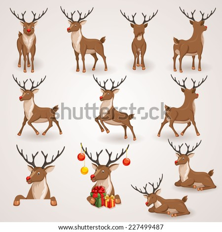 Reindeer Christmas icons set. Moving deer collection. Holiday vector illustration - stock vector