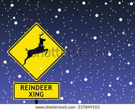 Reindeer Crossing Road Sign At the North Pole - stock vector