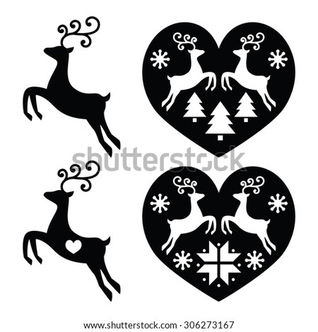 Reindeer, deer jumping, Christmas icons set  - stock vector
