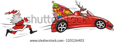 reindeer escapes convertible - stock vector