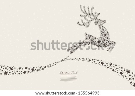 reindeer flying stars - stock vector