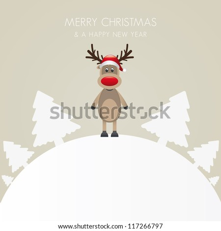 reindeer hat christmas tree white background world - stock vector