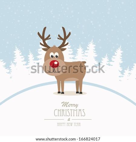 reindeer merry Christmas winter background - stock vector
