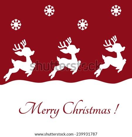reindeer on christmas background - stock vector