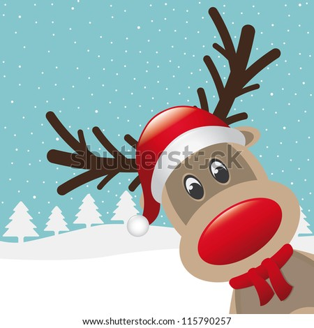 reindeer red nose and hat scarf - stock vector