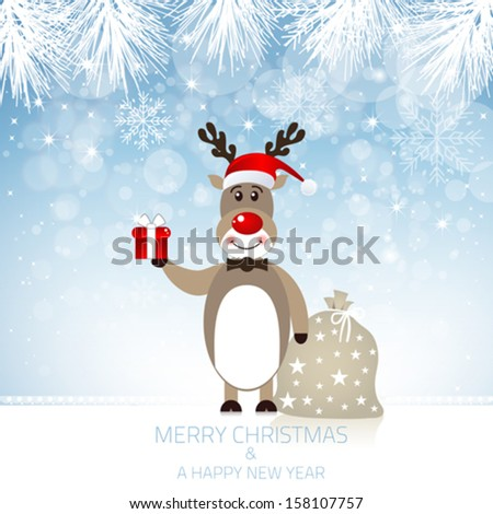 Reindeer Red Nose and Santa Claus Hat - stock vector