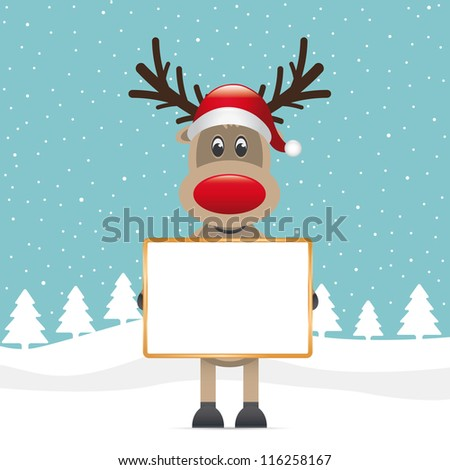reindeer red nose hold signboard - stock vector