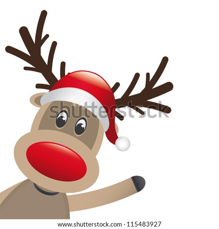reindeer red nose wave - stock vector