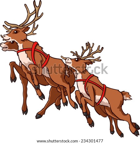 Reindeer running on white background Illustration - stock vector