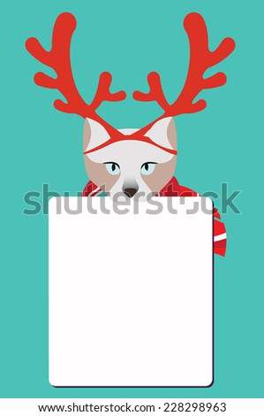 Reindeer sign. Cat holding  blank sign. - stock vector