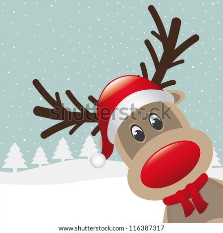 reindeer with red nose and hat scarf - stock vector