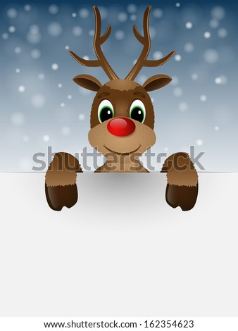 Reindeer with red nose. Vector illustration. - stock vector