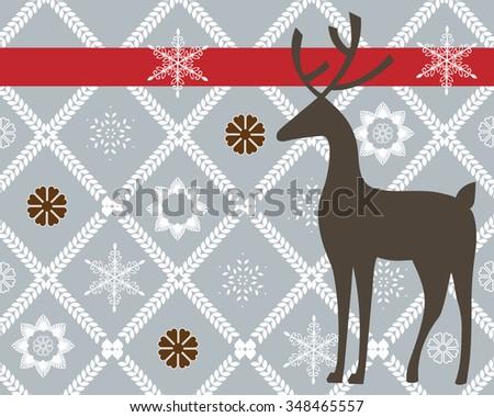 reindeer with wallpaper design snowflakes - stock vector