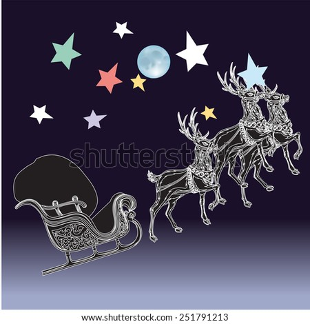 Reindeers with moon and stars.Christmas Greeting Card. Merry Christmas lettering, vector illustration - stock vector