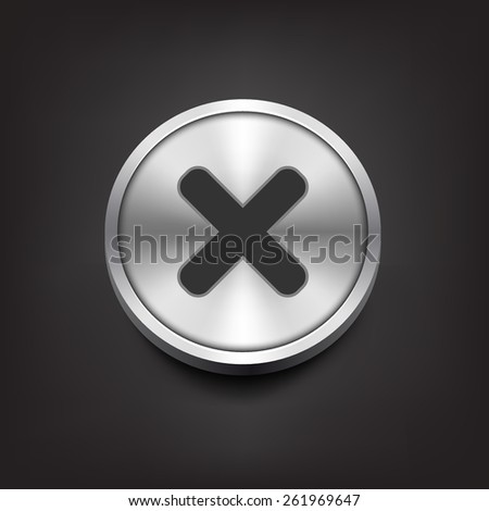 Rejected sign on silver button. vector illustration - stock vector