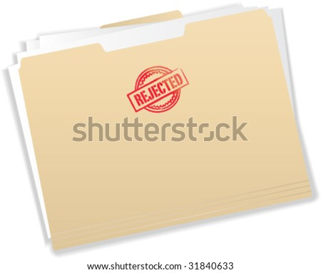 Rejected Stamp on Manila Folder - Vector Illustration - stock vector