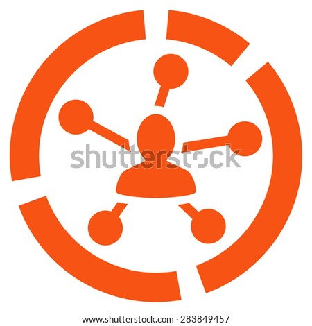 Relations diagram icon from Business Bicolor Set. Vector style: flat symbol, orange color, rounded angles, white background. - stock vector
