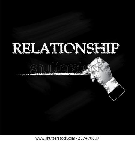 relationship, hand writing relationship on chalkboard vector - stock vector