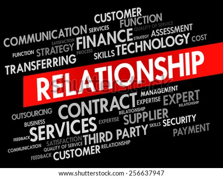 Relationship related items words cloud, business concept - stock vector