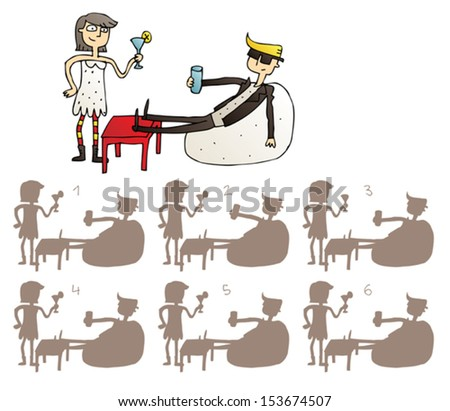 Relax Couple Shadows Visual Game. Task: find the right shadow image! Answer: No. 4. Illustration is in eps8 vector mode! - stock vector
