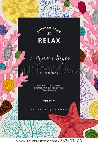 Relax. Summer rest. Vintage card. Black frame with seashells, coral and starfish. Colorful vector illustration in sea style. - stock vector
