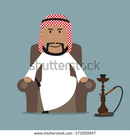 Relaxed cartoon arabian businessman in national white thobe and keffiyeh resting in a comfortable armchair with traditional oriental hookah. Relaxation or leisure theme design - stock vector