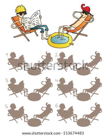 Relaxed Friends Shadows Visual Game. Task: find the right shadow image! Answer: No. 6. Illustration is in eps8 vector mode! - stock vector