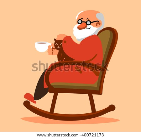Relaxed old man with white beard sitting in rocking chair and drinking coffee or tea.  - stock vector
