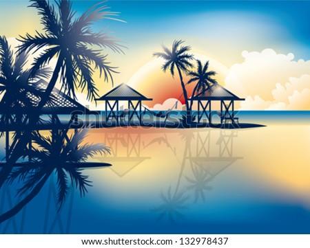 Relaxing in hammock on a tropical beach - vector wallpaper - stock vector