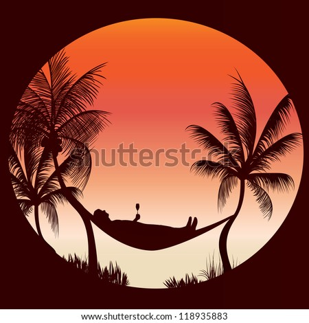 relaxing with a glass of wine in the cool evening - stock vector