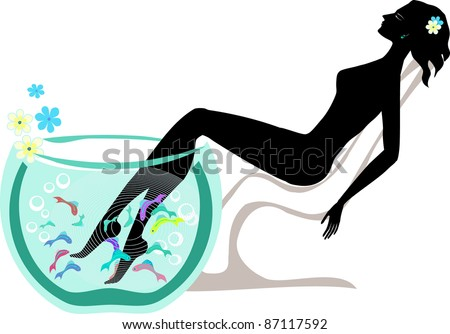 Relaxing woman taking fish spa pedicure wellness care treatment with rufa garra, or doctor fish, nibble fish and kangal fish vector - stock vector