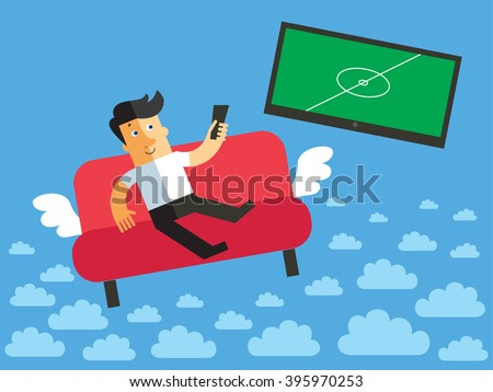 Relaxing young men watching football game via TV on sofa. Soccer at home television relaxation. Funny vector flat illustration - stock vector