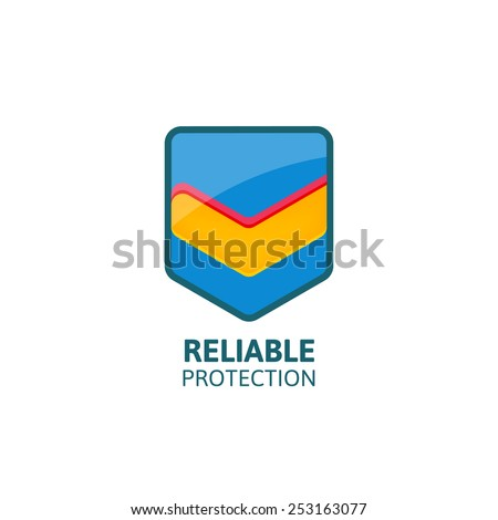 Reliable protection colorful shield with mark. Business logo template. - stock vector