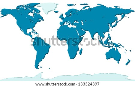 Relief map of the world - each continent is located on a separate layer - stock vector