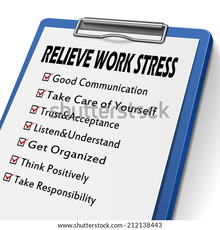relieve work stress clipboard with check boxes marked for relieve stress concepts - stock vector