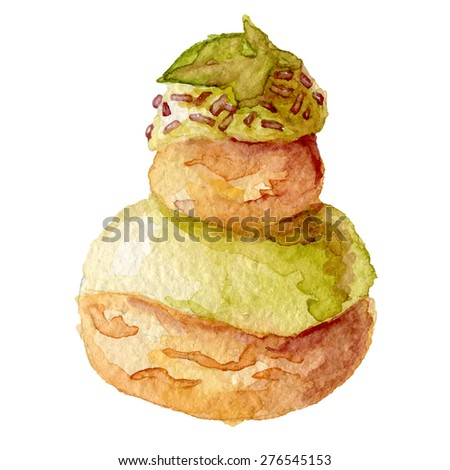 Religieuse au craquelin  Watercolor hand drawn french cake, eps10 - stock vector