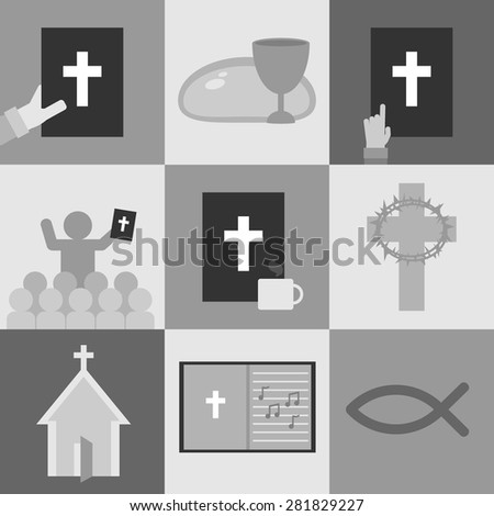 Religion and Christianity Icons - stock vector