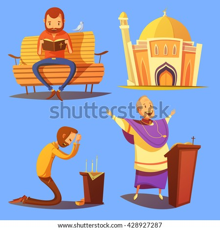 Religion cartoon icons set with church and praying symbols on blue background isolated vector illustration  - stock vector