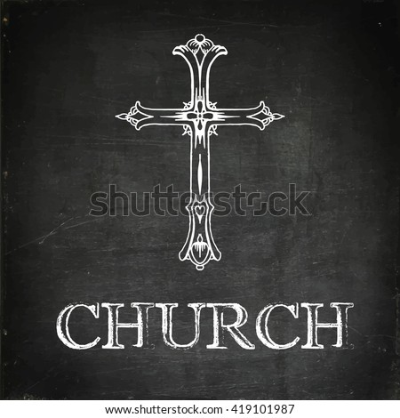 Religion cross icon. Church sign. Chalk drawn vector stock illustration - stock vector