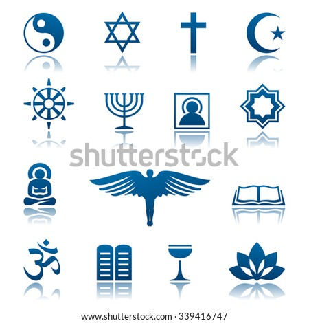 Religion icon set - stock vector