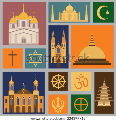 Religion icon set. Vector illustration - stock vector