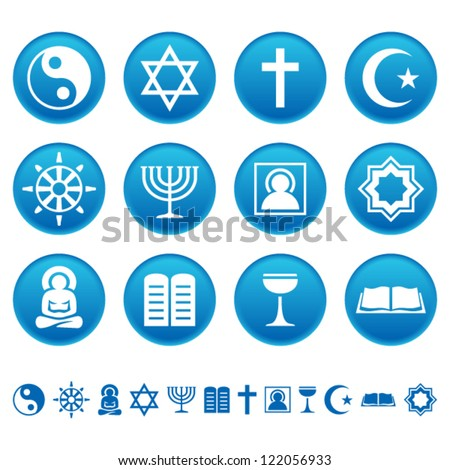 Religion icons - stock vector