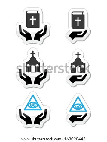 Religion icons - hands with bible, church, eye of god  - stock vector