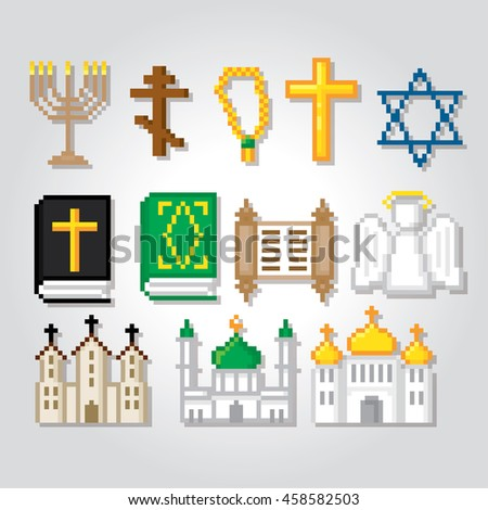 Religion icons set. Pixel art. Old school computer graphic style. Games elements. - stock vector