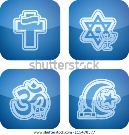 Religion is the adherence to codified beliefs and rituals, pictured here from left to right:  Christianity, Judaism, Hinduism, Islam. - stock vector
