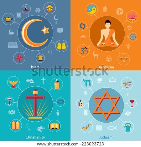 Religions icon flat set of islam buddhism christianity judaism symbols isolated vector illustration - stock vector