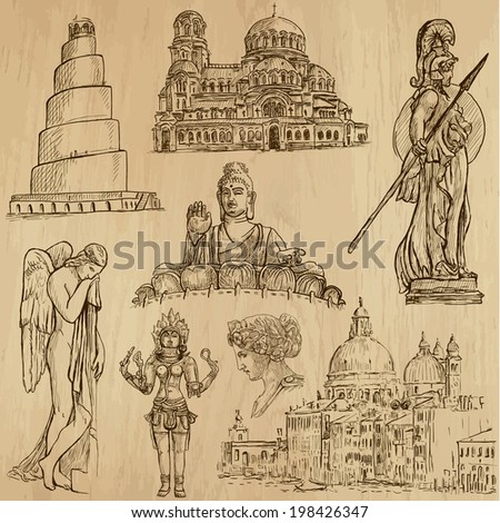 Religious around the World (vector pack no.1). Collection of an hand drawn illustrations (originals). Each drawing comprises of two layers of outlines, the colored background is isolated. - stock vector