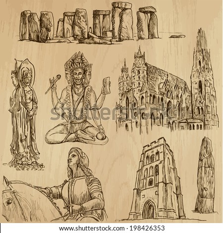 Religious around the World (vector pack no.3). Collection of an hand drawn illustrations (originals). Each drawing comprises of two layers of outlines, the colored background is isolated. - stock vector
