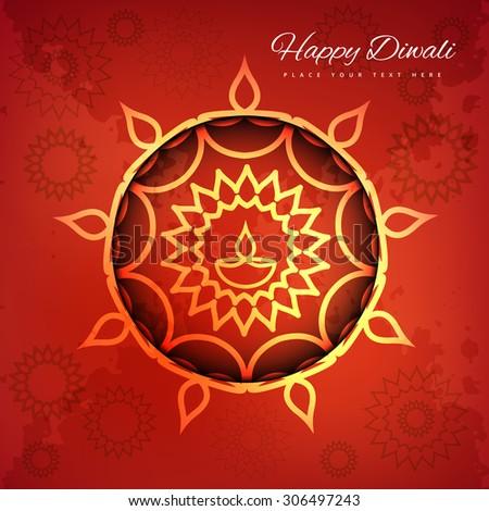 Religious card design for Diwali festival background vector illustration - stock vector