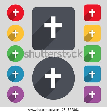 religious cross, Christian icon sign. A set of 12 colored buttons and a long shadow. Flat design. Vector illustration - stock vector